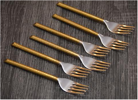 GeeGa Turtles Stainless Steel Golden Handle Dinner Fork  | Set of 6
