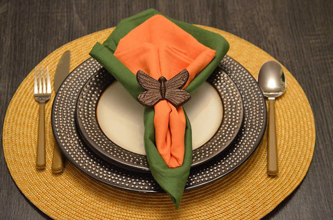 Geega Turtles Butterfly Napkin Rings Copper Finish