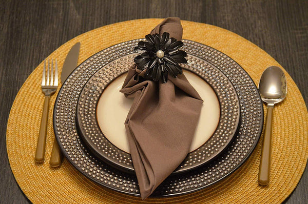 Pearl Black Napkin Rings - geega-home-decor