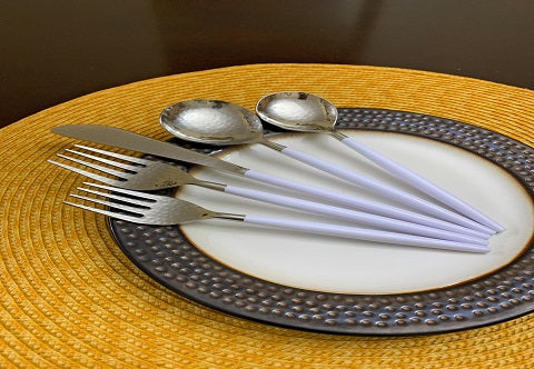 White Handle Flatware Set of 30