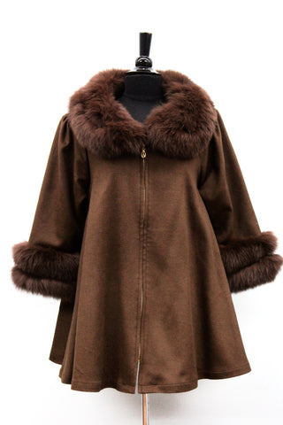 Coat with Fox Fur Collar and Fur Trim Sleeves - Brown - La Fiorentina