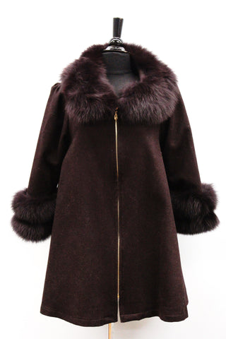 Coat with Fox Fur Collar and Fur Trim Sleeves - Wine - La Fiorentina