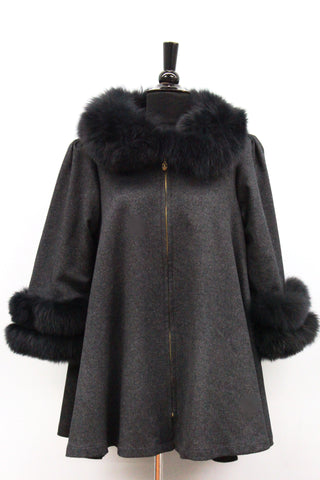 Coat with Fox Fur Collar and Fur Trim Sleeves- Grey - La Fiorentina