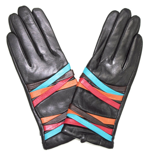 Touch Screen Leather Glove with Contrasting Colorful Straps