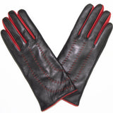 Leather Glove with Contrast Red Stitch - La Fiorentina