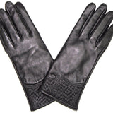 Sheep Leather w/ Embroidery Glove-Black - La Fiorentina