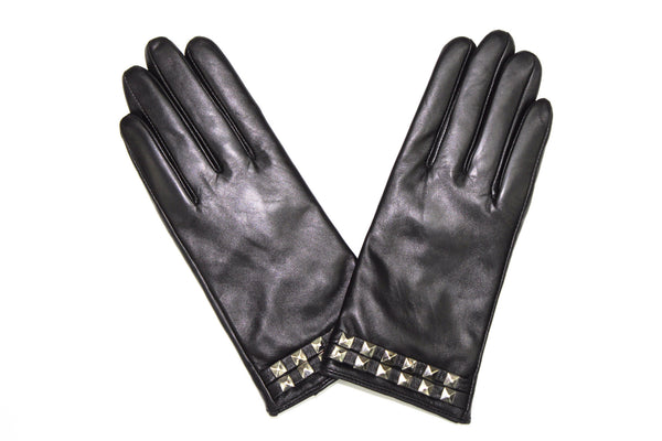 Leather Glove w/ Studs-Black