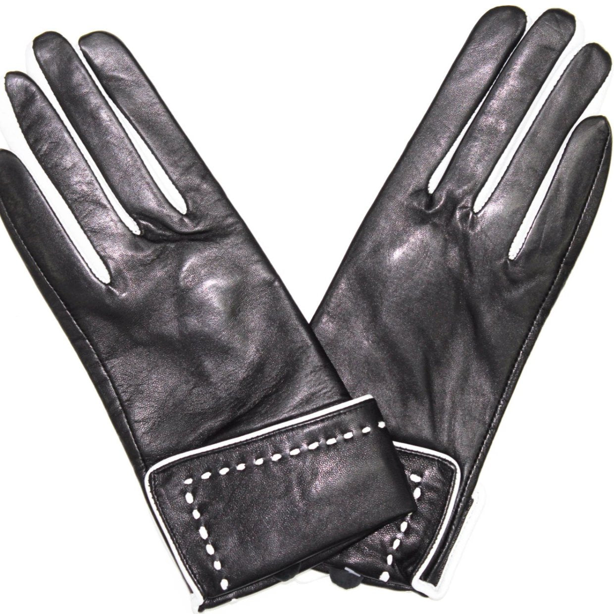 La Fiorentina Womens Leather Studded Glove with Long Side Fringes