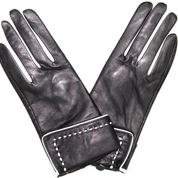 Leather Touch Screen Glove w/ White Stitching - La Fiorentina