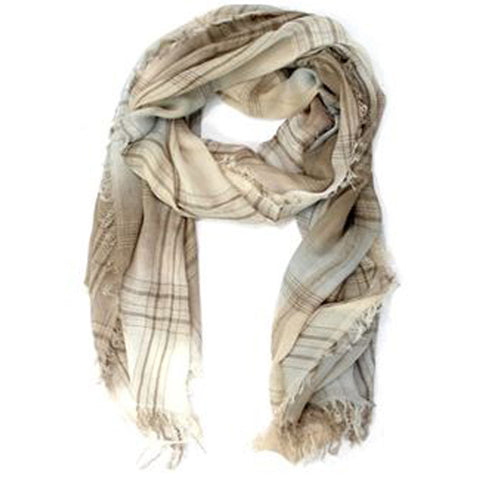 Crinkle Plaid Scarf - Brown - La Fiorentina