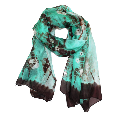 Tie Dyed Silk Scarf - Green/Brown