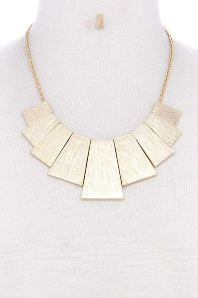 BRUSHED METAL NECKLACE & EARRINGS SET