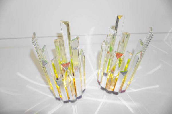Crystal Iridescent Candle Holders