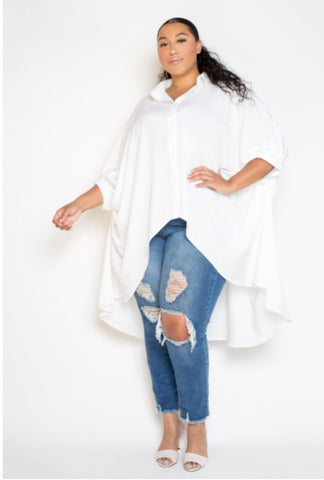 Wing sleeved Button Down Blouse