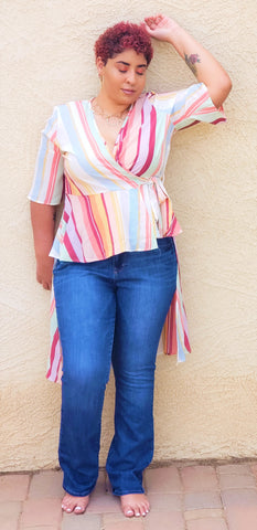 Multi-Color High Low Asymmetrical Blouse