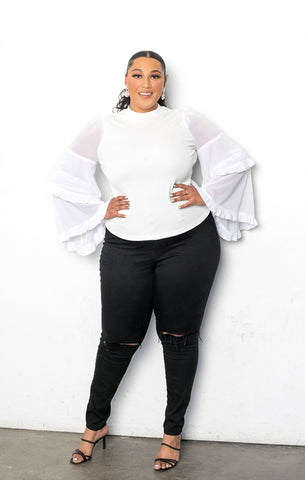 White Exaggerated Arm Blouse