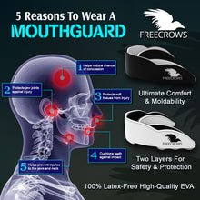 Load image into Gallery viewer, MMA Mouthguard - (pack of 2) Teeth Protection All Contact Sports Black/White by Freecrows