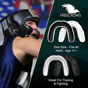 MMA Mouthguard - (pack of 2) Teeth Protection All Contact Sports Black/White by Freecrows