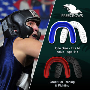 MMA Mouthguard - (pack of 2) Teeth Protection All Contact Sports Red/Blue by Freecrows