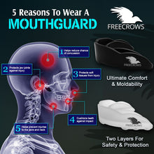 Load image into Gallery viewer, MMA Mouthguard - (pack of 2) Teeth Protection All Contact Sports Black/Clear by Freecrows