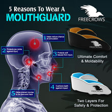 Load image into Gallery viewer, MMA Mouthguard - (pack of 2) Teeth Protection All Contact Sports Brown/Blue by Freecrows