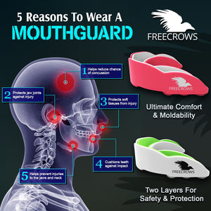 MMA Mouthguard - (pack of 2) Teeth Protection All Contact Sports Pink/Green by Freecrows