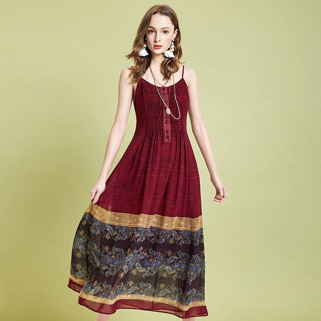 Vintage Dress Ethnic Style Print Dress Chiffon