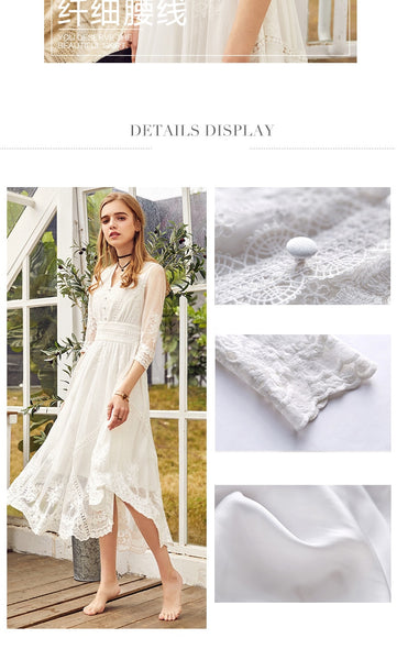 Spring New Women Vintage Lace Dress