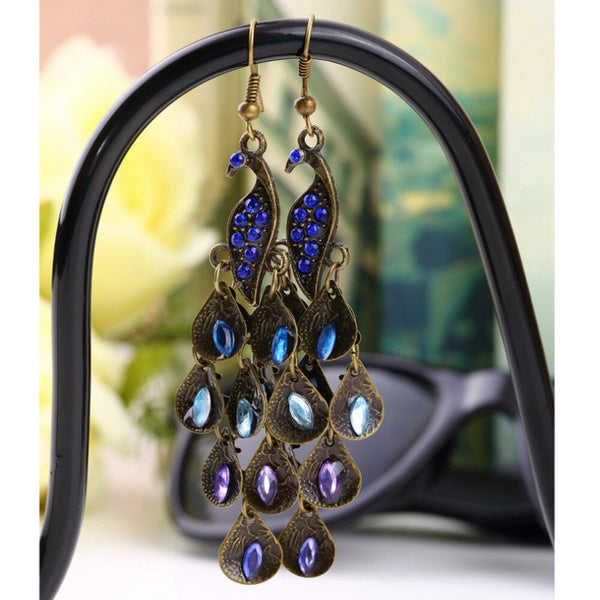 Peacock Earrings- Peacock feather Earrings Bohemian Fashion Earrings Style Collection