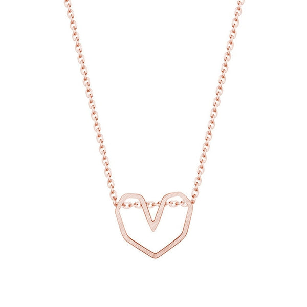 Minimalist Rose Gold Heart Necklace