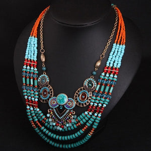 Torque Retro Boho Owl Bead Necklace