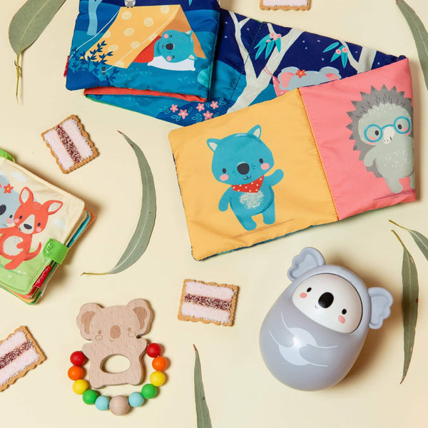 Baby and Toddler toys - Roly Poly Koala, Koala Silicone Teether, Pram Book and Cloth book childrens gift by Tiger Tribe