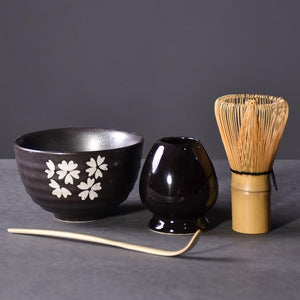 4PCs Traditional Bamboo Whisk Scoop Ceramic Bowl Holder Set