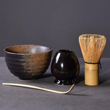 Load image into Gallery viewer, 4PCs Traditional Bamboo Whisk Scoop Ceramic Bowl Holder Set