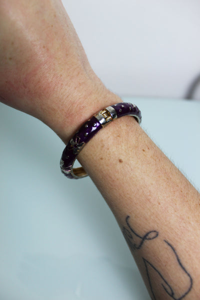Purple Floral Enamel Bangle