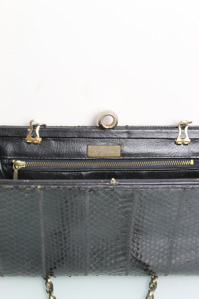 1970s Snakeskin Leather Clutch Bag
