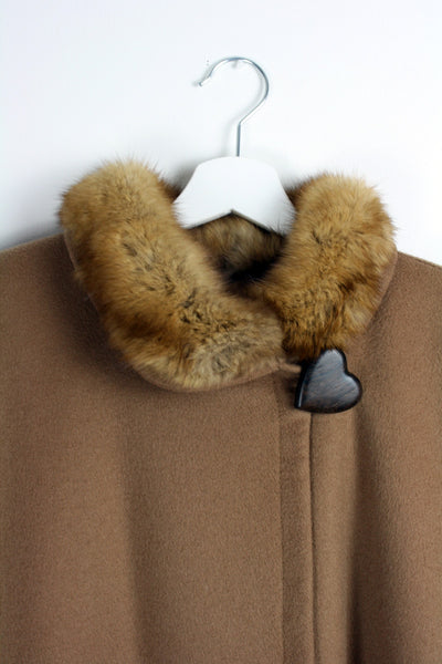 Yves Saint Laurent Cashmere & Fur Camel Coat