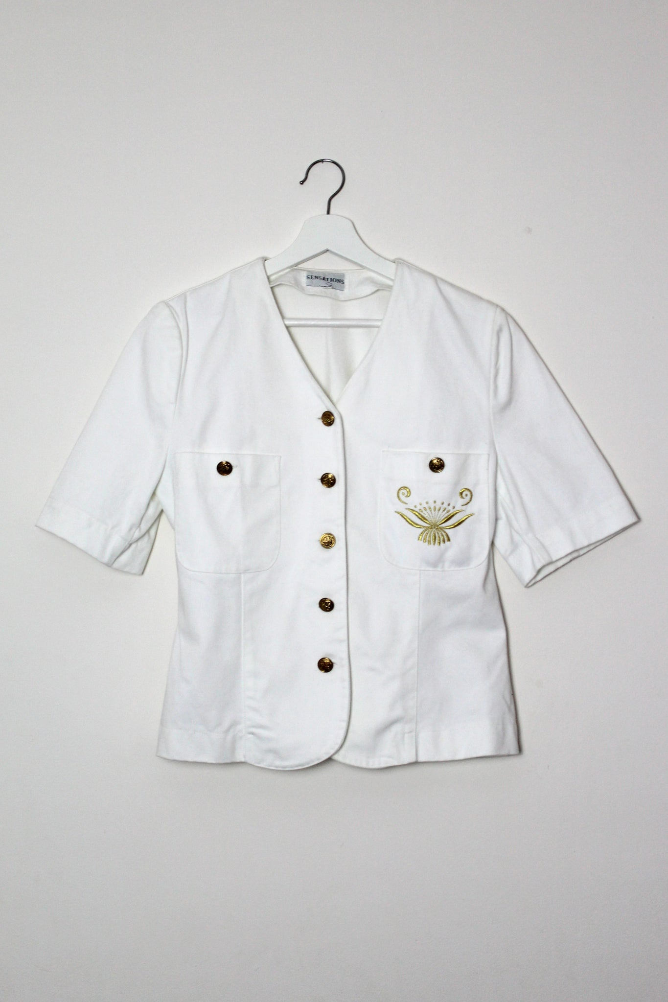 White Crested Denim Shirt