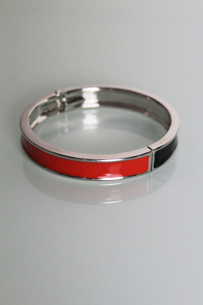 Black and Orange Enamel Bangle
