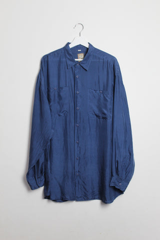 Midnight Blue Silk Long-sleeved Shirt