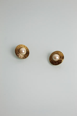 Givenchy Greek Key Faux Pearl Disc Earrings