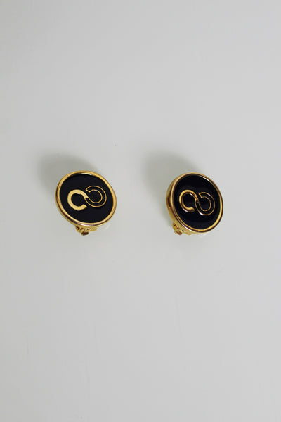 Black Enamel Gold-tone Earrings