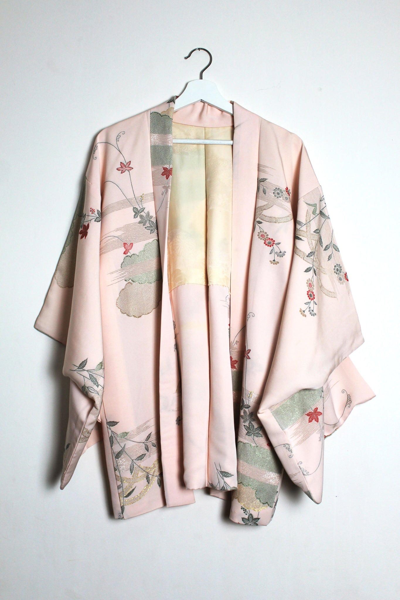 Pink Silk Haori with Metallic Thread