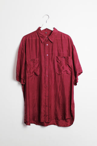 Dark Red Silk Short-sleeved Shirt