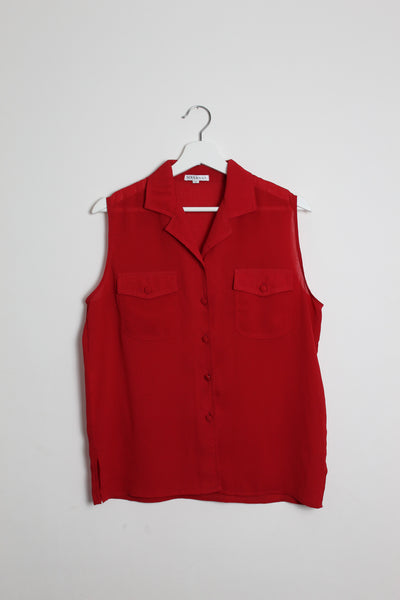Red Sleeveless Silk-Mix Blouse