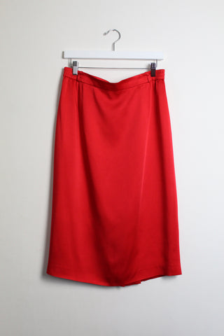 Givenchy Red Satin Pencil Skirt
