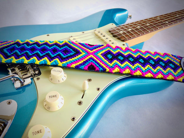 Hands of Colombia Handmade Leather Guitar Strap with Indigenous Pattern