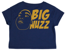 Load image into Gallery viewer, BIG NUZZ Women's Blue & Gold Crop Tee  *Pre-Sale Only*