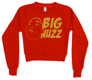 BIG NUZZ Women's Red and Gold Crop Jumper  *Pre-Sale Only*