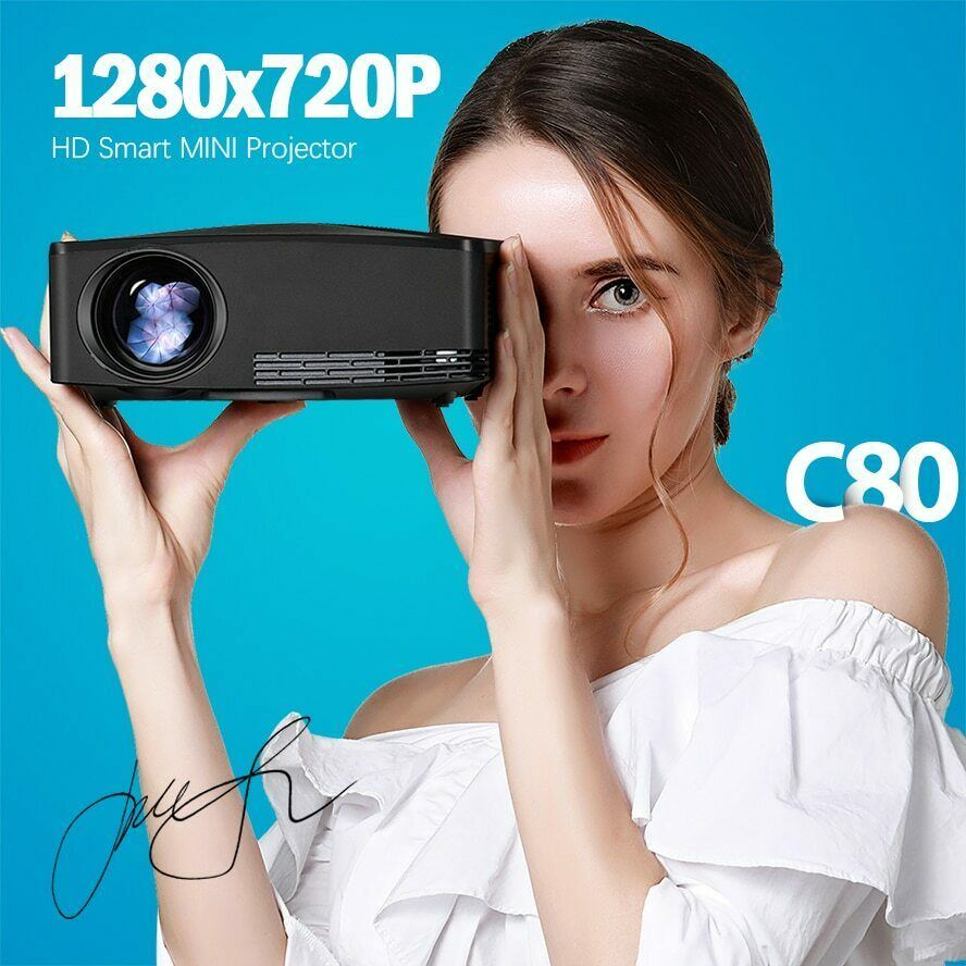 MINI projecteur C80 UP, résolution 1280x720, Android WIFI Proyector, LED